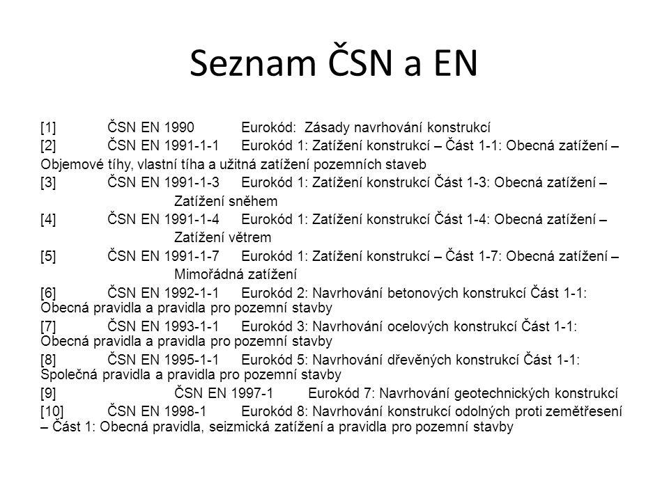 Seznam ČSN a EN [1] ČSN EN 1990 Eurokód: Zásady navrhování konstrukcí
